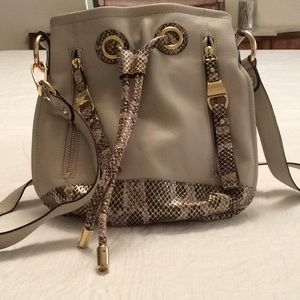 B.MAKOWSKY Beige & Snakeskin Leather Crossbody Bag